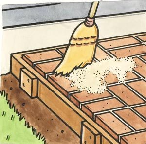 After All Of The Pavers Are In Place, Toss Handfuls Of Sand Over The Entire  Area. Then, Working From One End, Use A Kitchen Broom To Gently Sweep The  Sand ...