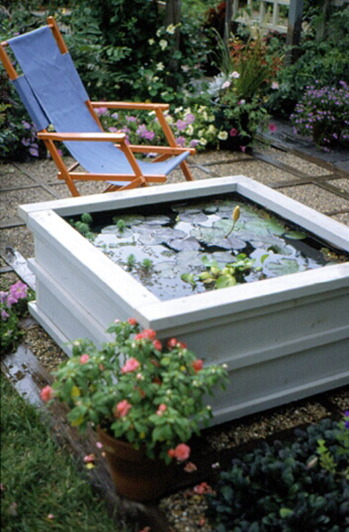A pond for your patio for Deck pond ideas
