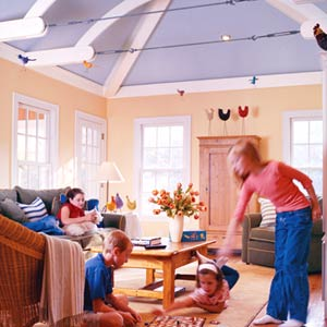 Ceiling color can infuse a room with warmth.