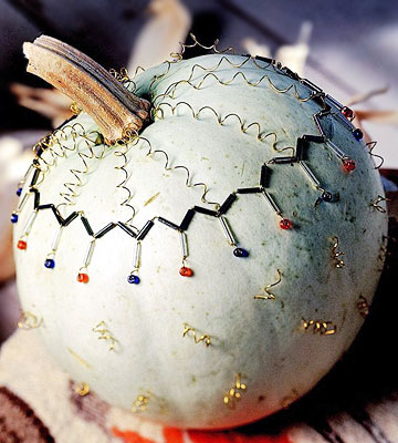 Beads-and-Wire-Trimmed Pumpkin