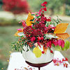 Elevated Pumpkin and Flowers Centerpiece