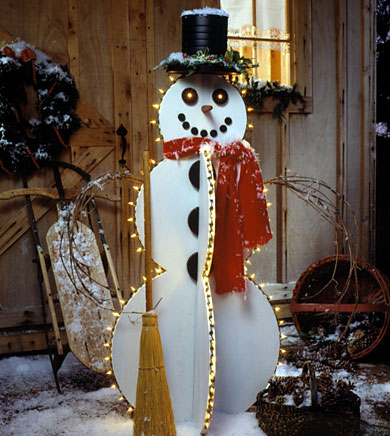 Happy lighted snowman for Deco noel exterieur fabriquer