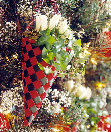Woven Ribbon Cone Ornament