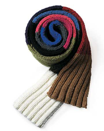Colorful Knit Ribbed Scarf