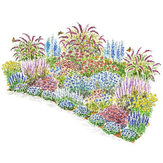 Beautiful butterflies garden plan for Flower garden layout