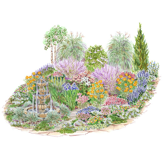 Drought tolerant garden plan for Flower garden layout