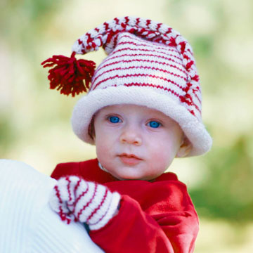 Candy Cane Striped Knit Infant Cap and Mittens