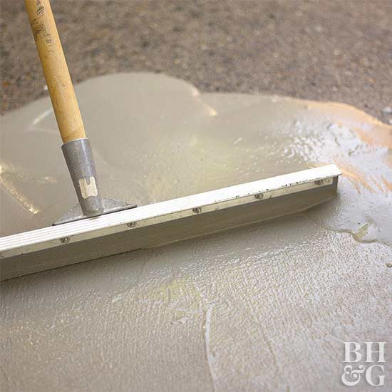 Wonderful Saturate The Patio Surface With Water, But Remove Any Areas Of Standing  Water. Pour The Resurfacing ...