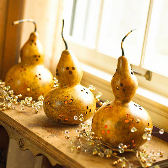Fall Decorating: Make Luminaries Out of Dried Gourds
