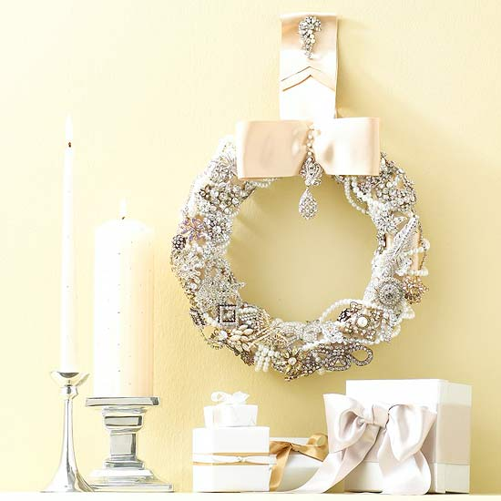 Make a Vintage-Look Christmas Wreath with Costume Jewelry