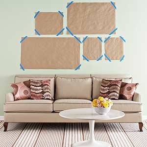 Carefully Determine Your Arrangement Before You Start Banging Holes In The Wall Trace Outline Of Each Frame Onto Kraft Paper And Cut It Out