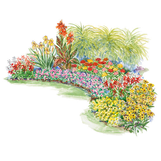 Hot summer garden plan for Easy perennial garden plan