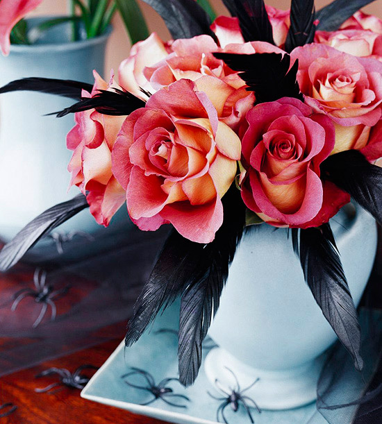 Roses and Black Feathers Bouquet