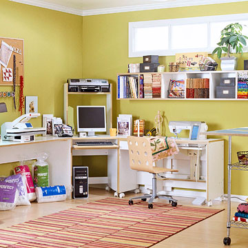 The perfect sewing room - Small space sewing area style ...