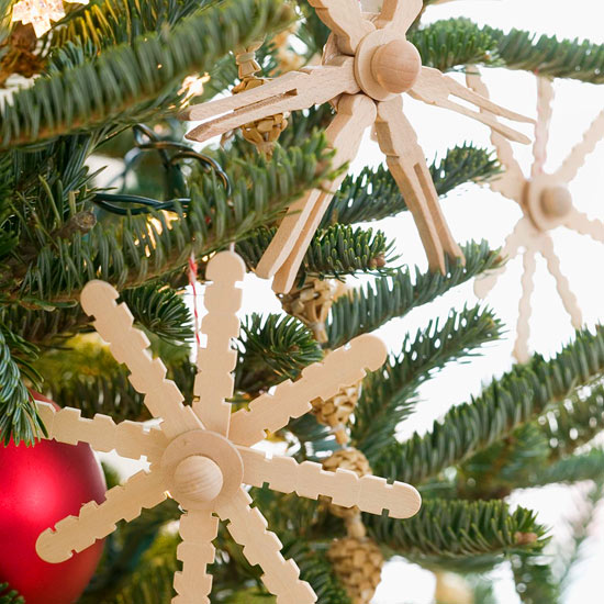 Clothespin Snowflake and Crafts-Stick Snowflake