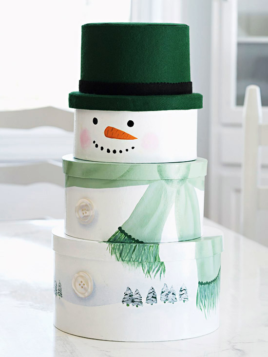 Dapper stacked snowman gift boxes