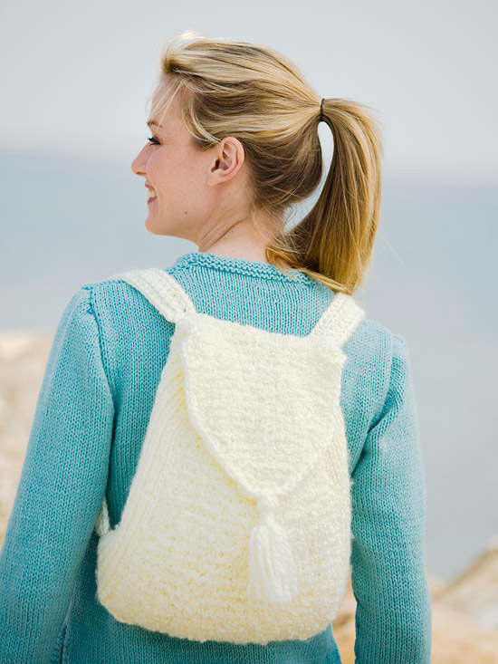 White Knit Backpack