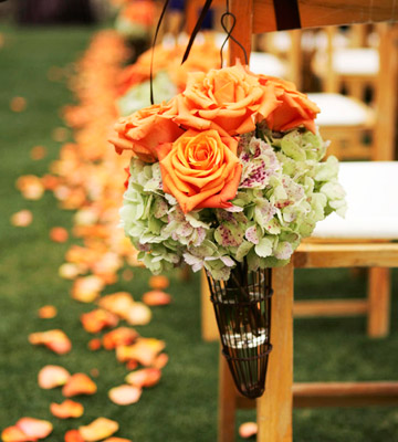 Real Wedding Reception: Green-and-Orange