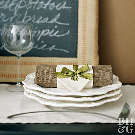 Fabric Napkin Wraps for Thanksgiving