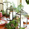 Holiday Dining Table with Lanterns and Greenery
