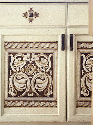 How to Update a Cabinet Door with Multilayer Stenciling