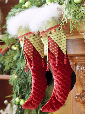 Embellished Christmas Stockings in Red and Green