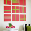 Red-and-Green Ribbon Wall Art