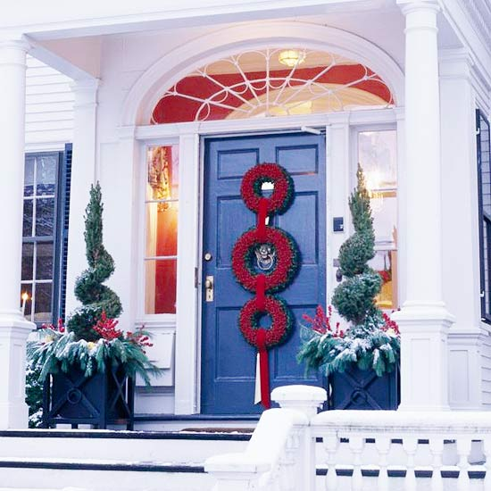 Try Repetition in Christmas Door Decorations