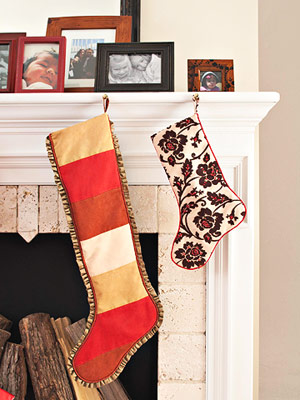 Two Christmas Stockings: Beaded Brocade and Striped Ultrasuede & Silk