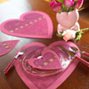 Heart-Shape Coasters and Place Mats
