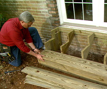 Build wooden exterior steps for Building a house step by step