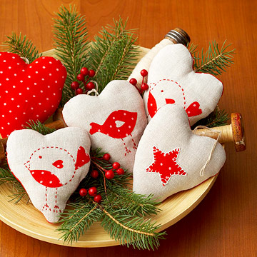 Sew Heart-Shape Christmas Ornaments in Red and White