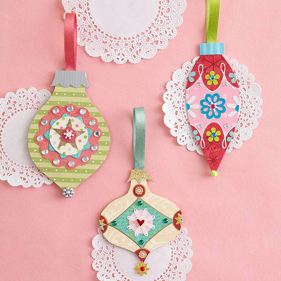 Pretty Embellished Paper Christmas Ornaments