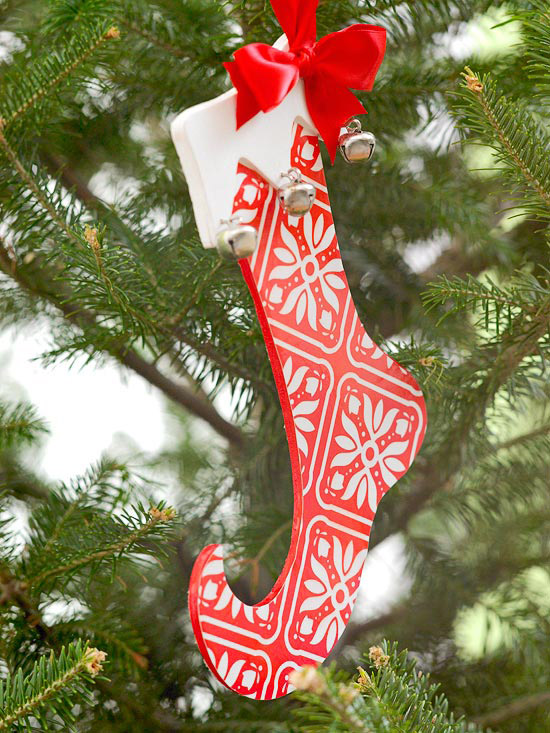 Painted Wooden Stocking Christmas Ornament