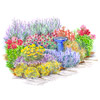 Carefree Perennial Garden with a Birdbath