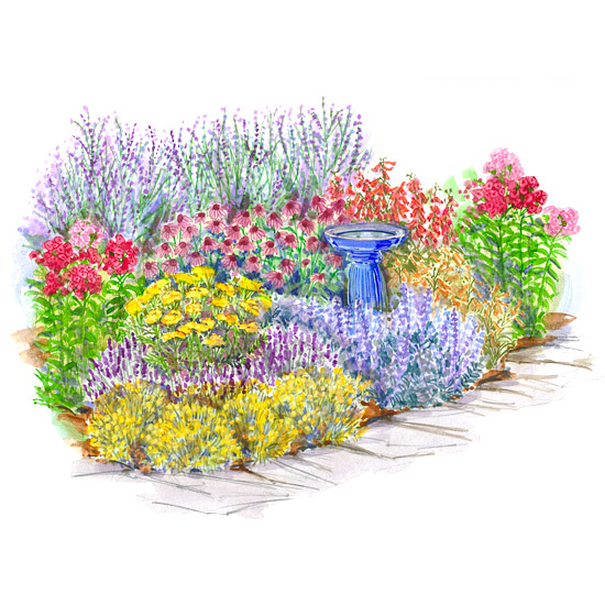 Tough as nails perennial garden plan for Easy perennial garden plan