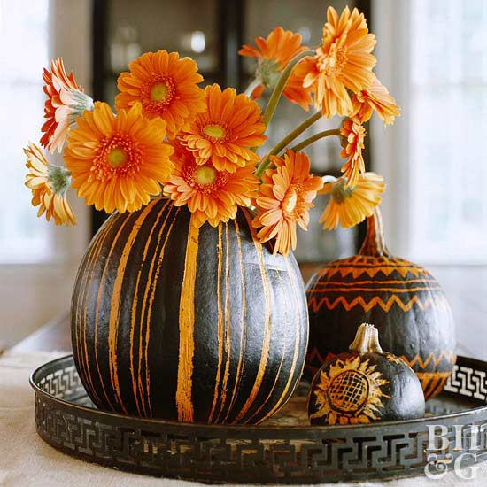 Easy Fall and Halloween Flower Arrangements