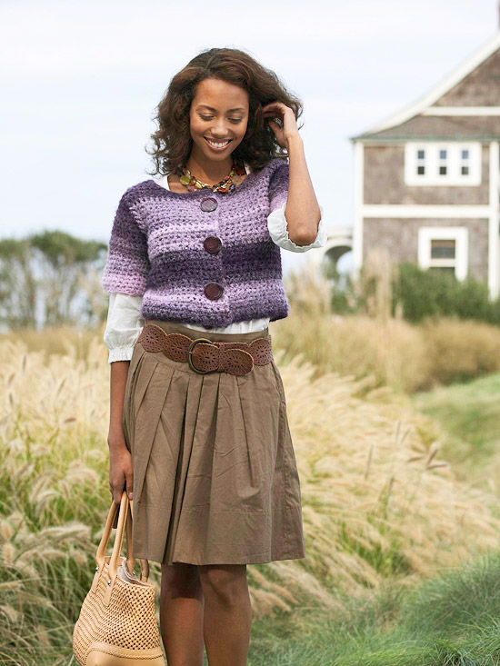 Modern Purple-Striped Cardigan