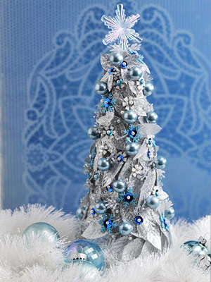 Craft a Blue-and-Silver Christmas Tabletop Tree