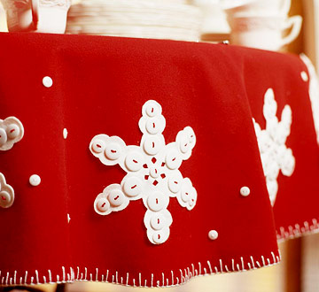 Snowflake Felt Tablecloth for a Christmas Table