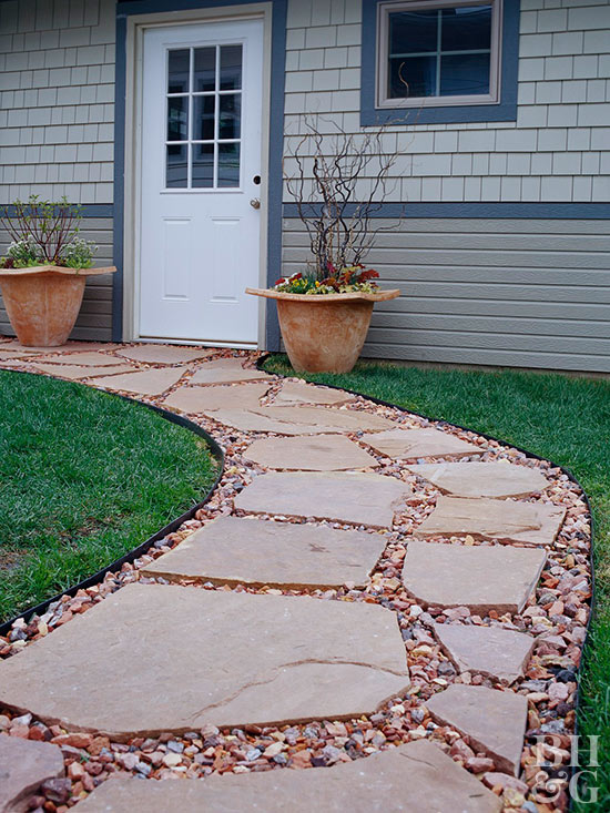 Install a walkway 3 delightful designs for Paving designs for small garden path