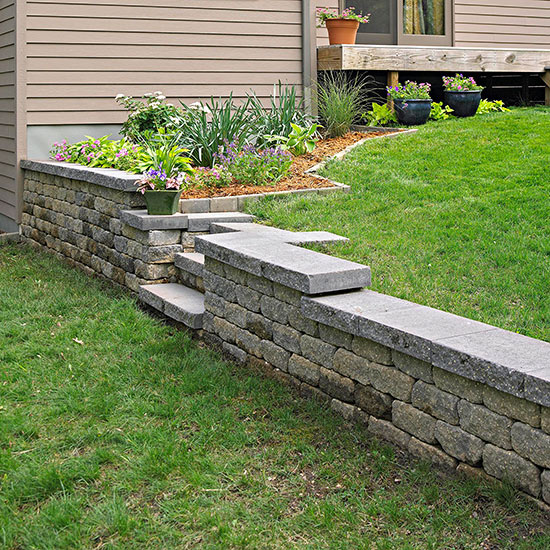 how to build a flower bed retaining wall on a slope 2