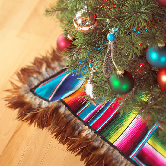 Make a Christmas Tree Skirt from a Striped Blanket