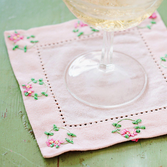 Posy Embroidered Cocktail Coaster
