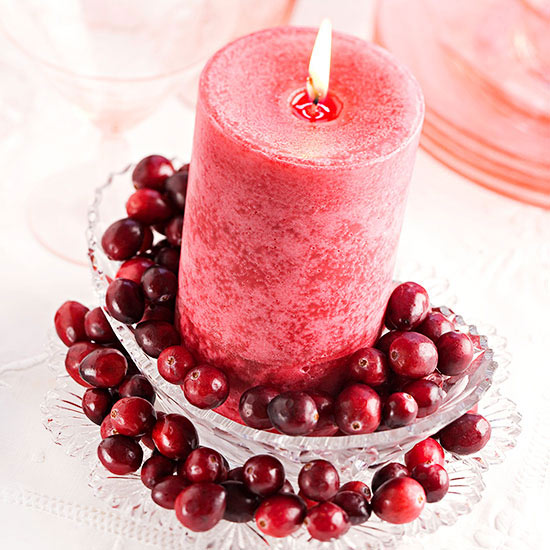Simple Cranberry Candle Arrangement