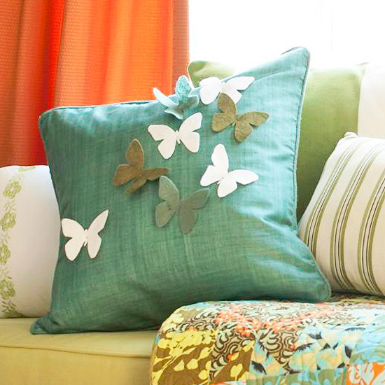 Pretty Felt Butterfly Pillow