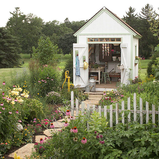 A gallery of garden shed ideas for Backyard cottage shed