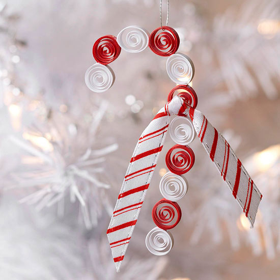 Quilled Candy Cane Christmas Ornament for Kids