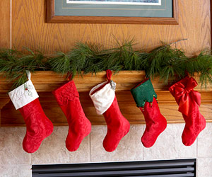 5 Customized Christmas Stockings, One Pattern