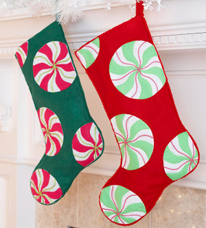 Decorate Christmas Stockings with Felt Peppermint Candies